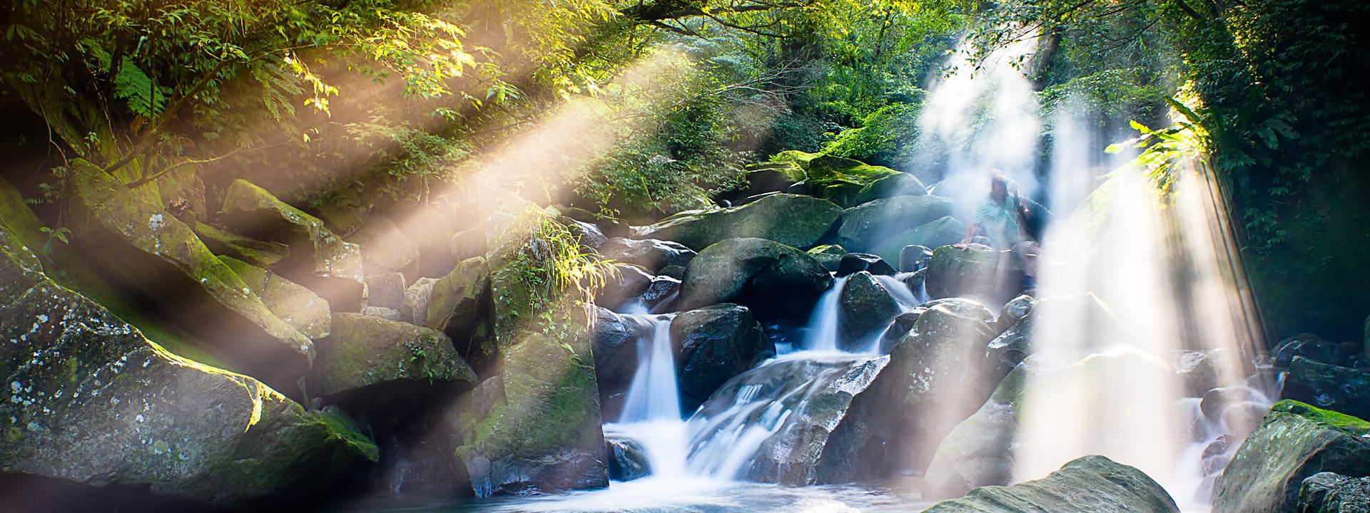 licht-strahlt-in-wasserfall-wald
